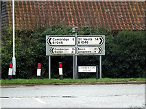 TL3656 : Roadsigns on the B1046 Comberton Road by Adrian Cable