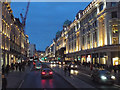 TQ2980 : North on Regent Street, winter dusk, London by Robin Stott