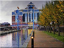 SJ8097 : Salford Quays, Mariners Canal and The Victoria Building by David Dixon