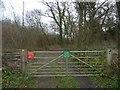 SE6065 : Gated entrance to St John's Well Plantation by Christine Johnstone