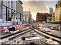 SJ8398 : New Tramlines at St Peter's Square (December 2015) by David Dixon