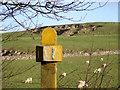 SK1461 : Former railway milepost at Caskin Low by Ian Calderwood
