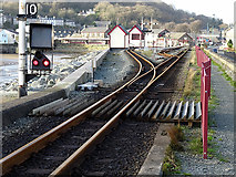 SH5738 : Point outside Porthmadog Harbour Station by John Lucas