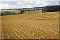 SP3823 : Harvested fields near Cleveley by Bill Boaden