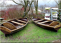SD3097 : Wooden rowing boats at Coniston Boating Centre by Kate Jewell