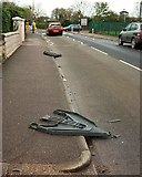 SX9065 : Signs blown over, Cricketfield Road, Torquay by Derek Harper
