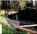 SO8401 : Road bridge over a former railway line, Inchbrook by Jaggery