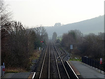 SO4382 : The view south from Craven Arms station by John Lucas