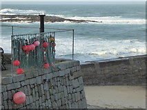 SW3526 : Harbour wall in Sennen Cove by Rod Allday