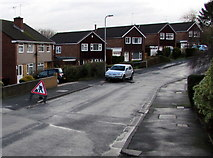 ST3091 : Warning sign - roadworks ahead, Anderson Place, Malpas, Newport by Jaggery