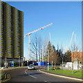 TL4654 : Car park and cranes by John Sutton