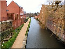 SJ9495 : Moorside Place from Manchester Road bridge by Gerald England