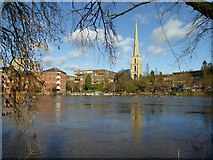 SO8454 : River frontage in Worcester by Philip Halling