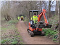 TQ1479 : Footpath maintenance with mini excavator by David Hawgood