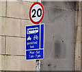 J3473 : 20 mph speed limit sign, May Street, Belfast (January 2016) by Albert Bridge