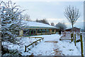 SP9313 : The Snowy Front of the Visitor Centre at College Lake by Chris Reynolds