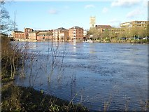 SO8454 : Flooded River Severn in Worcester by Philip Halling