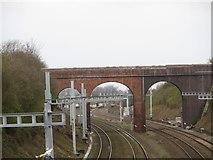 SU5985 : Gantries near Silly Bridge by Bill Nicholls