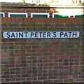 TQ7467 : Vintage street nameplate, Saint Peter's Path, Rochester by Chris Whippet