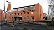 SE2932 : Round Foundry Media Centre, Leeds: west entrance by Stephen Craven