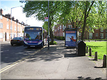 SP2865 : Bus stop, Coventry Road by Priory Park, Warwick by Robin Stott