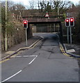 ST0894 : West side of a low railway bridge over the B4275, Abercynon by Jaggery
