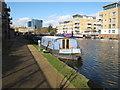 TQ1777 : Brimwylf, narrowboat moored in Brentford Lock basin by David Hawgood