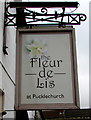 ST6976 : The Fleur de Lis at Pucklechurch name sign by Jaggery