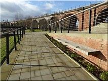 SO8455 : Walkway and railway viaduct by Philip Halling