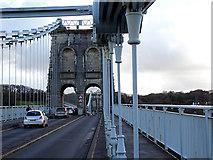 SH5571 : On the Menai Suspension Bridge by John Lucas