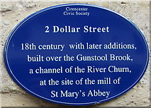 SP0202 : Blue plaque on  2 Dollar Street, Cirencester by Jaggery