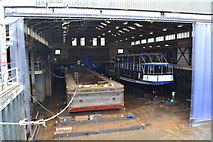 SK7953 : Lighter and trip boat in dry dock at Newark on Trent by David Martin