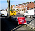 ST3388 : Temporary signs on a Chepstow Road corner, Newport by Jaggery