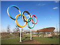 TQ3785 : Olympic Rings and Velodrome by Des Blenkinsopp
