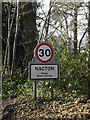 TM2241 : Nacton Village Name sign on Orwell Road by Adrian Cable