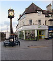 SH8579 : Town centre clock tower and Barnardo's charity shop, Colwyn Bay by Jaggery