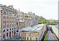 NT2573 : Edinburgh: westward view from North Bridge along south side of Waverley Station, 2006 by Ben Brooksbank