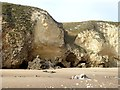 NZ3965 : Sea caves and cliffs above Marsden Sands by Oliver Dixon