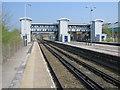 SJ3478 : The modern footbridge at Hooton railway station by John S Turner