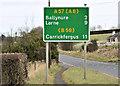 J3091 : Route confirmatory sign, Ballyclare (March 2016) by Albert Bridge