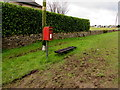 SO8801 : Queen Elizabeth II postbox and a low bench near Minchinhampton by Jaggery