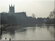 SO8454 : Worcester Cathedral and River Severn by Philip Halling
