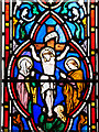 SD6911 : Smithills Chapel, Stained Glass Window Detail (2) Crucifixion Scene by David Dixon