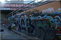 TQ3179 : View of street art on the Station Approach Road ramp next to Leake Street by Robert Lamb