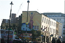 TQ3179 : View of a mural on the end of the parade of shops on Lower Marsh from Baylis Road by Robert Lamb