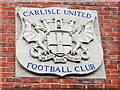 NY4155 : Carlisle United badge in stone by Rose and Trev Clough