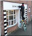 SP9211 : Preparing the Shop Front: Tring Beauty Box, Dolphin Square Car Park, Tring by Chris Reynolds