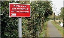 J2865 : No horses sign, Lagan towpath, Hilden (March 2016) by Albert Bridge