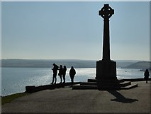SW9276 : Silhouetted Padstow War Memorial by Philip Halling
