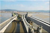 SH7877 : Conwy Suspension Bridge and Railway Bridges by Stu JP